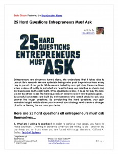 25 Hard Questions Entrepreneurs Must Ask - Brandmaker News - Featuring Barb Girson