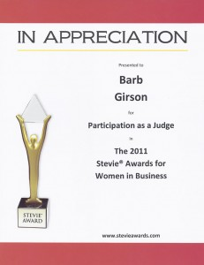 Barb Girson Judges Women in Business Awards